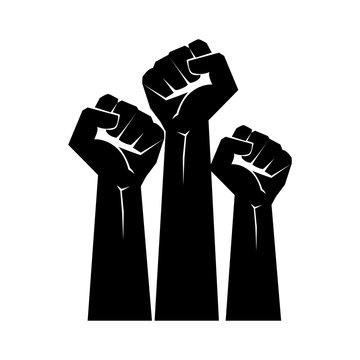 Raised fists resistance silhouette