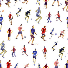 Seamless background. Soccer players kicks the ball with paint splatter design. footballer. isolated on white background. watercolor illustration. Shooting soccer player.