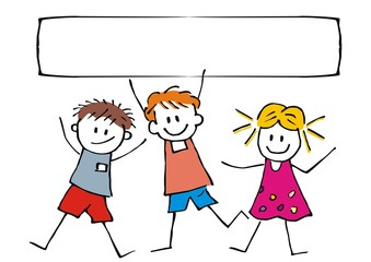 Happy children and banner, three cheerful kids on white background, vector funny illustration