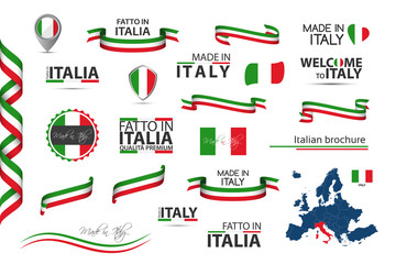 Big set of Italian ribbons, symbols, icons and flags isolated on a white background, Made in Italy, Welcome to Italy, premium quality, Italian tricolor, set for your infographics, and templates Fotomurales