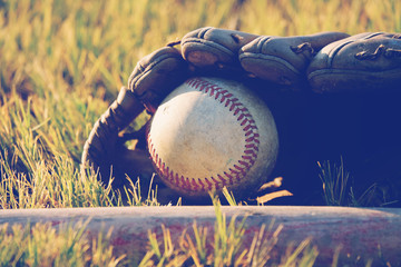 Baseball in glove laying in field grass for sport game.