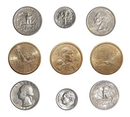 Collection of circulating coins of the USA (change coins of America)