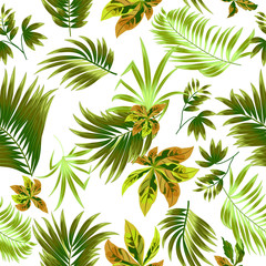 Green Seamless pattern tropical leaves of palm tree.