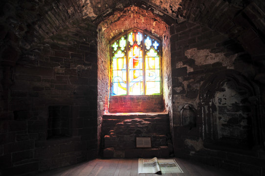 Stained glass window in a castle