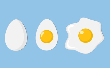 three eggs closeup: egg in shell, half and fried egg with shadow on blue, stock vector illustration