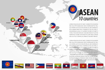 ASEAN ( Association of Southeast Asian Nations ) and GPS navigator location pin with country flag of membership on world map . Vector