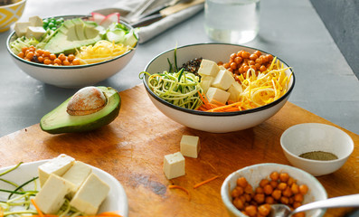 Cooking bowl buddha spiralized vegetables Healthy food clean eating