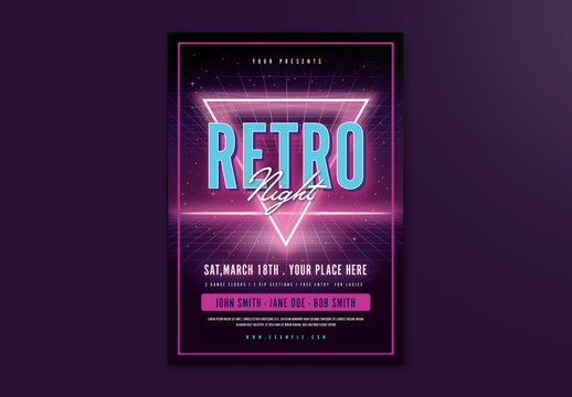 Purple Neon Retro Event Flyer Layout