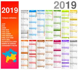 Calendrier 2019 pour entreprise sur 14 mois multicaque - modifiable - texte arial