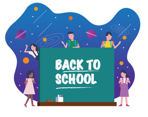 Happy kids with chalkboard. Universe in Background. Back to school concept. character design set. vector illustration