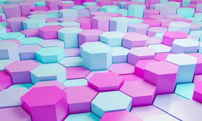Pink and turquoise abstract hexagons background pattern 3D rendering - 3D Illustration
