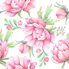 seamless pattern watercolor drawings flowers and buds peonies on white background