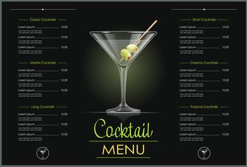Martini glass. Cocktail menu concept design for alcohol bar.