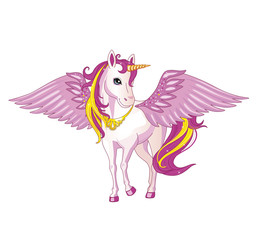 Pink unicorn with wings on a white background. Illustration of a child. Magic. Vector.