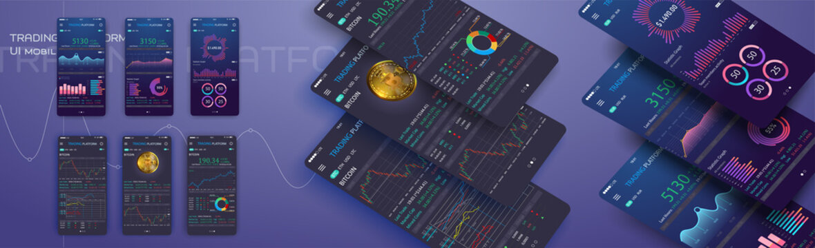 Trade exchange app on phone screen. Mobile banking cryptocurrency ui. Online stock trading interface vector eps 10. Illustration of mobile banking crypto currency, bitcoin