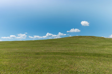 Wall Mural - background of blue sky with white clouds and green fields
