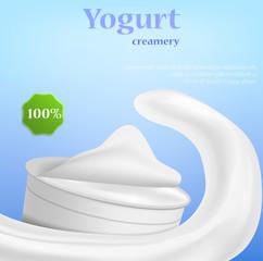 Yogurt creamery concept background. Realistic illustration of yogurt creamery vector concept background for web design