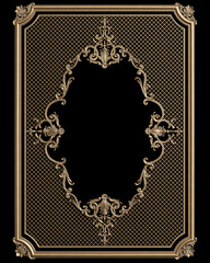 Classic decor  frame with ornament decor for classic interior isolated on black background