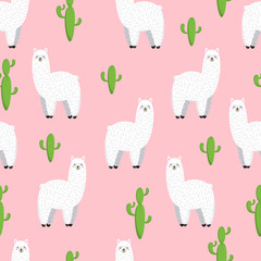 Cute lama, doodle vector illustration. Collection of cartoon characters, stickers, patches. Seamless background, wallpaper, pattern, texture