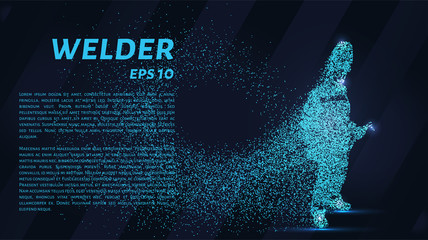 A welder from particles. The silhouette of a welder consists of circles and points. Vector illustration.