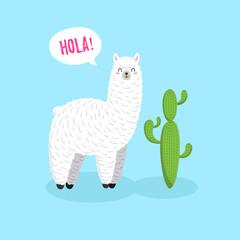 Cute cartoon lama, doodle vector. character sticker patche