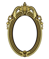 Gold vintage mirror isolated on white background. Vector illustration.
