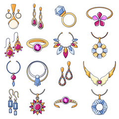 Necklace jewelry chain icons set. Cartoo illustration of 16 necklace jewelry chain vector icons for web