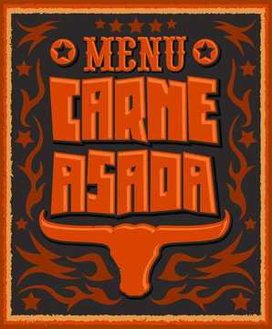 Carne asada, Grilled meat Barbecue spanish text, vector lettering icon design western style