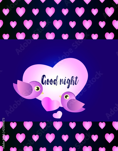 Cute Pattern Background With Hearts And Birds Good Night