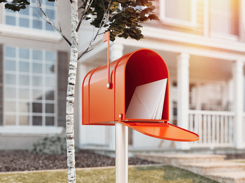 Orange mail box with big house on background, 3d rendering