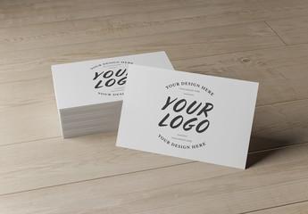 Stack of Business Cards on a Wooden Desk Mockup
