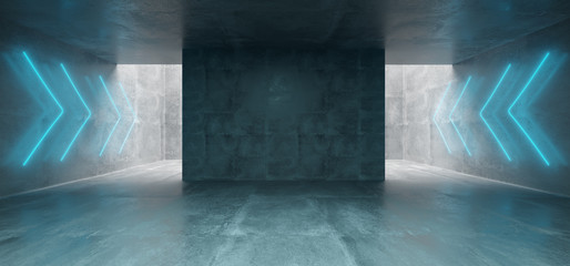 Empty Underground Concrete Corridor Room With Arrow Neon Blue Glowing Signs  3D Rendering Wall mural