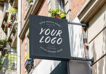 Outdoor Signage by Residential Building Mockup