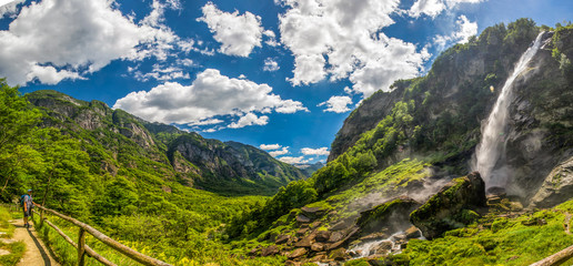 Foroglio waterfall with Swiss Alps in cantonTicino, Bavona valley, Switzerland, Europe