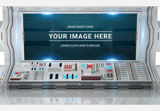 White Control Room Screen Mockup