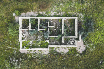 Aerial view of unfinished building