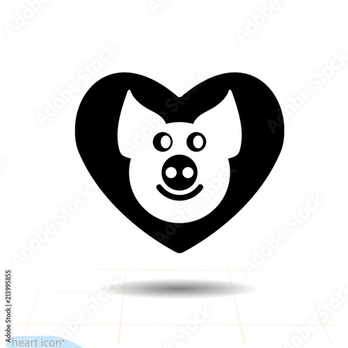 Cute Piggy In Heart Vector Black Icon Love Symbol Valentines Day