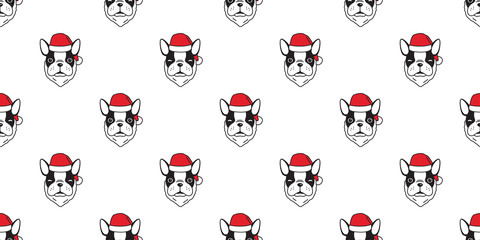 Dog seamless pattern Christmas vector french bulldog Santa Claus scarf isolated winter Holiday repeat wallpaper tile background gift