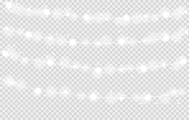Vector shining white Christmas lights with bokeh on squared background