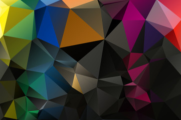Multicolor background of triangles. Bright colors, dark abstract background