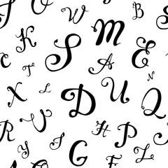 Seamless pattern. Hand written letters
