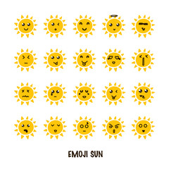 Emoji sun set. Summer emoticons with different emotions. Vector illustration isoalted on white background.