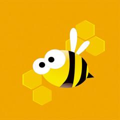 Cute cartoon working bee on the honeycombs