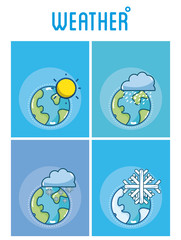Set of weather cards