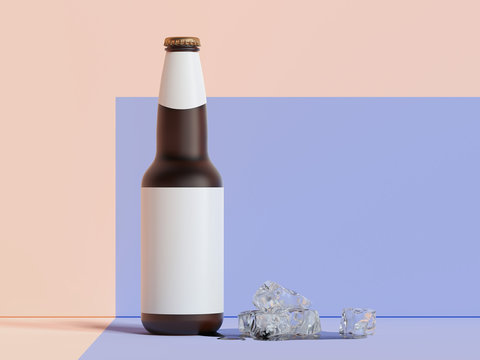 Beer glass bottle with blank label on multicolour background, 3d rendering.