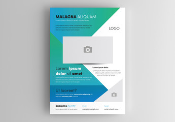 Business Flyer Layout wth Blue and Green Accents
