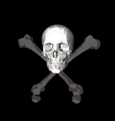 Skull with bones on a black background. Print, clothes