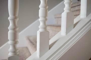 White spindles on interior home staircase