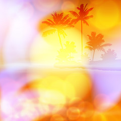 Sea summer sunset with palm tree and light on lens. Orange background. EPS10 vector.