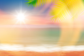 Beach and tropical sea with bright sun and palmtree leaves. Colorful summer background. EPS10 vector.